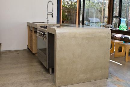 Concreate island bench, waterfall edge, concrete benchtop