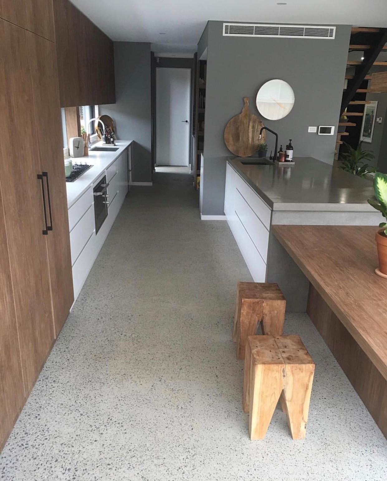 concrete island benchtop Azure Interiors
