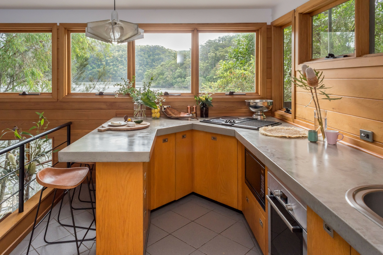 Concreate kitchen, concrete benchtop, Berowra Waters
